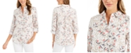 Charter Club Floral-Print Tab-Sleeve Linen-Blend Shirt, Created for Macy's