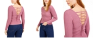 Bar III Laced-Back Ribbed Sweater, Created for Macy's