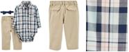 Carter's Baby Boys 3-Pc. Cotton Bowtie, Plaid Bodysuit & Pants Set