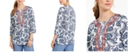 Charter Club Petite Embroidered Printed Tunic, Created for Macy's