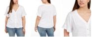 Belldini Plus Size Flutter-Sleeve Button-Down Top