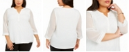 Charter Club Plus Size Split-Neck Top, Created for Macy's