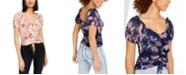 Crave Fame Juniors' Ruched Floral-Print Crop Top