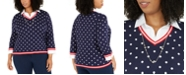 Alfred Dunner Plus Size Ship Shape Polka-Dot Two-For-One Necklace Sweater
