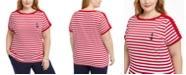 Karen Scott Plus Size Anchor Stripe Cotton Top, Created for Macy's