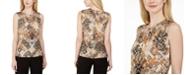 Calvin Klein Petite Printed Pleat Neck Blouse