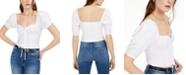 Bar III Eyelet Puff-Sleeve Top, Created for Macy's