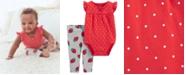 Carter's Baby Girls 2-Pc. Cotton Dot-Print Bodysuit & StrawberryPrint Pants Set
