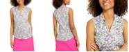 Charter Club Floral-Print Sleeveless Shirt, Created for Macy's