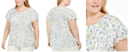 Calvin Klein Plus Size Floral-Print Ruffle-Sleeve Top