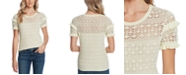 CeCe Ruffled Cotton Pointelle Sweater