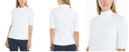 Charter Club Supima® Cotton Mock-Neck Top, Created for Macy's