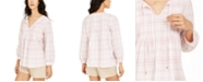 Tommy Hilfiger Pintucked Plaid Top