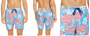 "Club Room Men's Stripe Floral Leaf 7"" Swim Trunks, Created for Macy's"