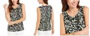 Kasper Printed Twist-Neck Sleeveless Top