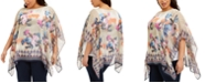 JM Collection Plus Size Bali Dream Poncho Top, Created for Macy's
