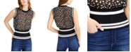 Bar III Sheer Dot-Print Mixed-Media Tank Sweater, Created for Macy's