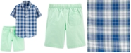 Carter's Little & Big Boys 2-Pc. Plaid Shirt & Poplin Shots Set