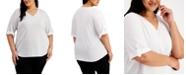 Calvin Klein Plus Size V-Neck Textured Top
