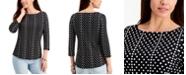 Charter Club Supima Cotton Dot-Print Top, Created for Macy's