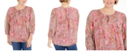 Tommy Hilfiger Plus Size Paisley-Print Pintuck Top, Created for Macy's