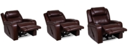 Furniture Henriel Leather Power Recliner with Air Massager