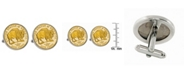 American Coin Treasures Gold-Layered Westward Journey 2005 Bison Jefferson Nickel Bezel Coin Cuff Links