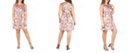 24seven Comfort Apparel Women's Plus Size Floral Empire Waist Sleeveless Party Dress