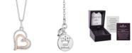 "Hallmark Diamonds Double Heart Love pendant (1/10 ct. t.w.) in Sterling Silver & 14k Rose Gold, 16"" + 2"" extender"