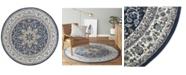 "Global Rug Designs Haven Hav09 Navy and Ivory 7'10"" x 7'10"" Round Rug"