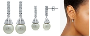 Macy's Imitation Pearl Cubic Zirconia Vintage Pyramid Style Drop Earrings Crafted in Fine Silver Plate
