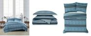 London Fog Mitchell Stripe 3 Piece Duvet Cover Set, Full/Queen