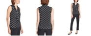 Karl Lagerfeld Paris Imitation Pearl Cluster Sleeveless Top
