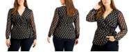 INC International Concepts INC Plus Size Foil Surplice Wrap Top, Created for Macy's