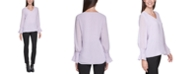 Calvin Klein Plus Size V-Neck Pleat-Detail Top