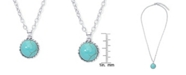 Macy's Simulated Turquoise Silver Plated Round Twist Design Pendant Necklace