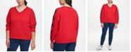 Tommy Hilfiger Plus Size Ivy Cotton Argyle-Sleeve Sweater