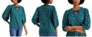 Style & Co Cotton Puff-Sleeve Peasant Top, Created for Macy's