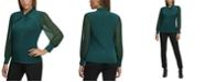 Calvin Klein Plus Size Twist-Neck Chiffon-Sleeve Top