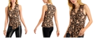 INC International Concepts INC Printed Draped-Twist V-Neck Top, Created for Macy's