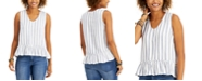Style & Co Petite Striped Ruffle-Hem Top, Created for Macy's