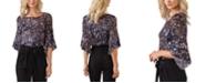 Belldini Black Label Women's Plus Size Printed Flare Sleeve Top
