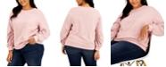 INC International Concepts INC Plus Size Sequin-Sleeve Sweatshirt, Created for Macy's