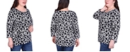 NY Collection Women's Plus Size Elbow Sleeve Pullover with Drawstring Detail