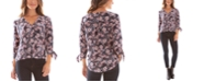BCX Juniors' Printed Faux-Wrap Top