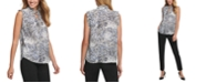 DKNY Printed Pleated-Trim Top
