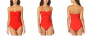 Anne Cole Twist-Front Ruched One-Piece Swimsuit