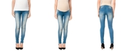 WallFlower Maternity Ripped Skinny Jeans, Medium Wash