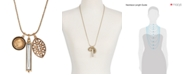 Lucky Brand Gold-Tone Crystal and Cutout Charm Necklace