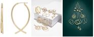 Italian Gold Crisscross Hoop Earrings in 14k Gold, 1 1/2 inch